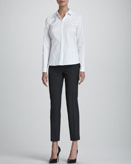 Lafayette 148 New York Olina Long-Sleeve Blouse & Astor Slim-Leg Cropped Pants