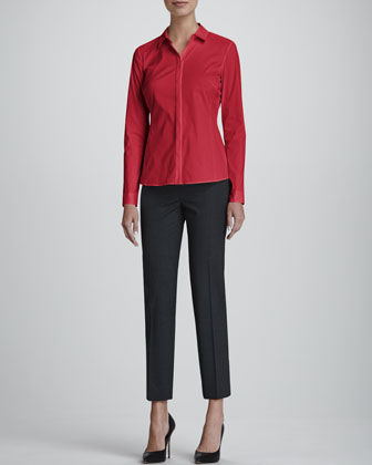 Olina Long-Sleeve Blouse & Astor Slim-Leg Cropped Pants