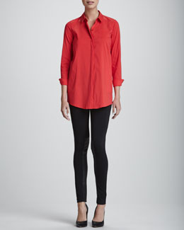 Lafayette 148 New York Leora Stretch-Cotton Blouse & Punto Leggings with Extended Leather Panels