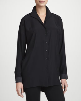 Lafayette 148 New York Selma Silk Button-Front Tunic & Punto Leggings with Extended Leather Panels