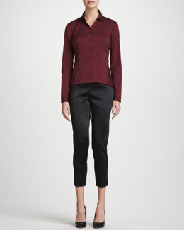 Lafayette 148 New York Mavis Long-Sleeve Stretch Blouse & Stanton Belle Satin Cloth Pants