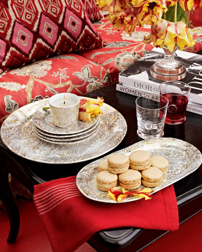 Juliska Candle, Tray, Glasses, & Serving Plates