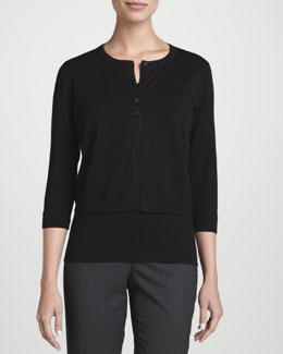 Lafayette 148 New York Fine-Gauge Wool Cropped Cardigan & Merino Wool Tank