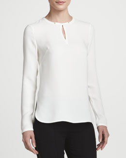 Lafayette 148 New York Long-Sleeve Silk Keyhole Blouse & Nouveau Slim-Leg Pants with Golden Detailing