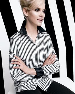 Go Silk Striped Leather-Trim Shirt