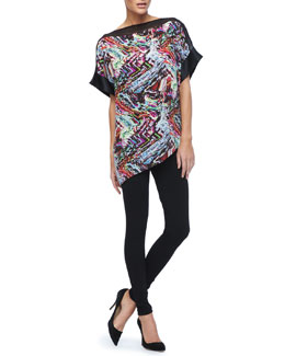 Lafayette 148 New York Karina Printed Silk Top & Stretch Viscose Jersey Leggings