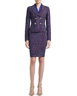 St. John Collection Looped Lash Tweed Knit Double Breasted Dip Front Jacket, Stretch Silk CDC Shell & Looped Lash Tweed Knit Pencil Skirt