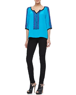 Nanette Lepore Tipis Embroidered Flowy Top & Crow Ruch-Side Pants