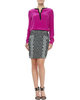 Diane von Furstenberg Maisy Contrast-Trim Blouse & Laury Honeycomb-Print Pencil Skirt
