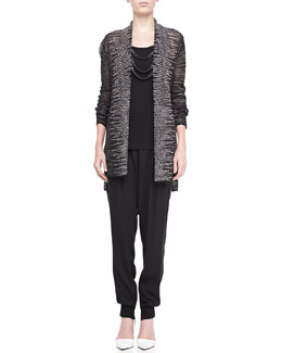 Eileen Fisher Blurred Striped Cardigan, Beaded Crochet Necklace, Silk Jersey Long Tank & Silk Ankle Pants with Cuffs, Petite