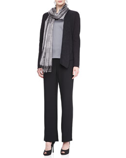 Eileen Fisher Mosaic Shaped Jacket, Charmeuse V-Neck Tank, Silk Tweed Wrap & Georgette Crepe Pants, Women's