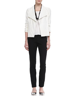 Eileen Fisher Soft Leather Jacket, Cap-Sleeve Tee & Slim Ponte Pants
