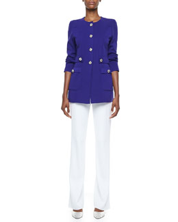 Misook Renata Silver-Button Jacket & Boot-Cut Pants, Women's