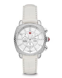 MICHELE ASC Ascalon Diamond Chronograph Watch Head & 18mm Gator Strap