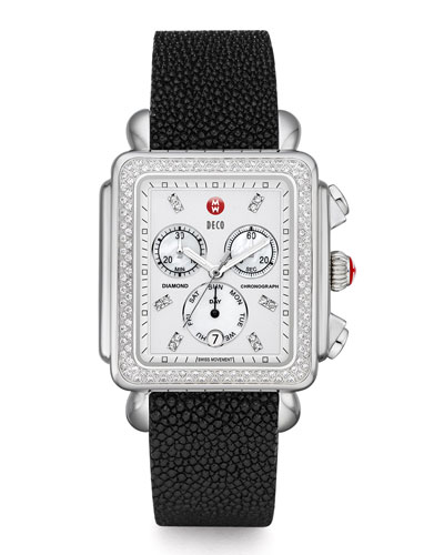 MICHELE Deco XL Diamond Dial Watch Head & 20mm Stingray Watch Strap