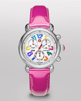 MICHELE CSX Carousel Watch Head & 18mm Pink Patent Leather Strap