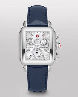 MICHELE Deco Diamond Stainless Steel Watch Head & 18mm Navy Patent Leather Strap