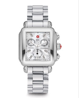 MICHELE Engravable or Plain Deco Diamond Stainless Steel Watch Head & 3-Link Bracelet