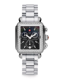 MICHELE Deco Diamond Watch Head & 18mm Stainless Steel Bracelet