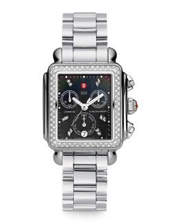 MICHELE Deco Diamond Watch Head & 18mm Stainless Steel Bracelet