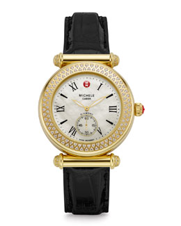 MICHELE Caber Diamond Gold Watch Head & 18mm Alligator Strap