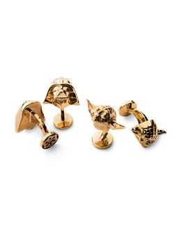 Star Wars Gold Darth Vader and Yoda Cufflinks