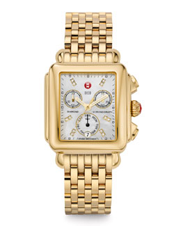 MICHELE Deco Diamond Gold Watch Head & 18mm Deco Gold Bracelet Strap