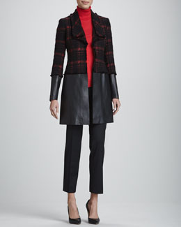 Lafayette 148 New York Cecille Tweed/Faux-Leather Coat, Merino/Cashmere Turtleneck & Astor Stretch Crepe Pants