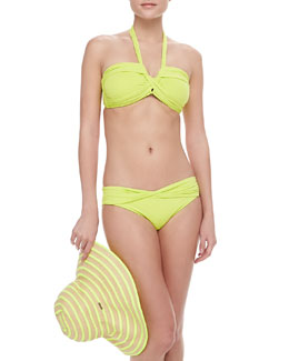 Seafolly Goddess Bandeau Swim Top, Twisted Hipster Swim Bottom & Gelato Striped Floppy Hat