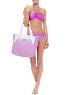 Seafolly Ruffle-Trim Bandeau Top, Ruched-Side Swim Bottom & Ombre Cotton Canvas Tote