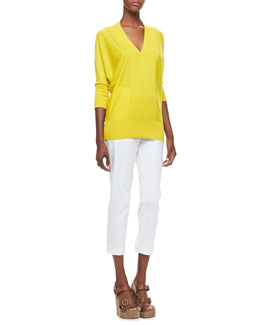Magaschoni V-Neck 3/4-Sleeve Sweater & Slim-Leg Pants