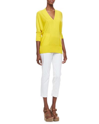 Magaschoni V-Neck 3/4-Sleeve Sweater & Slim-Leg Pants