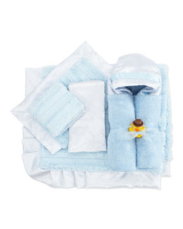 Swankie Blankie Swiss Dot & Plush Stripe Receiving Blanket, Security Blanket, Hooded Towel & Burp Cloths