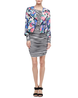 Rebecca Minkoff Wes Floral-Print Motorcycle Jacket & Lori Ruched Striped Dress