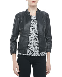 Rebecca Minkoff Royce Leather Bomber Jacket & Skyline Metallic Crochet Top