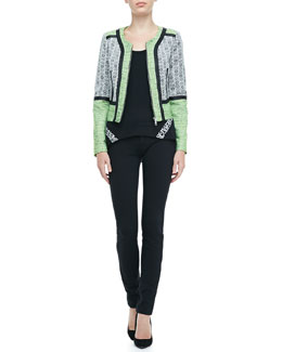 Rebecca Minkoff Payton Mix-Fabric Jacket & Corvina Lace-Detail Tank