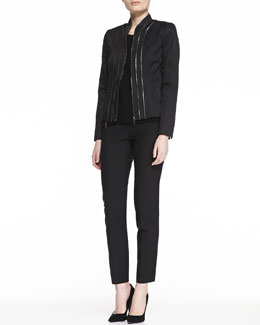 Elie Tahari Bella Leather Zip Jacket, Terra Crepe Zip Blouse & Jillian Slim Ankle Pants