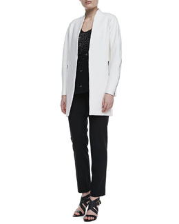 Elie Tahari Leann Long Zipper Coat, Angelica Embellished Knit Tank & Jillian Slim Ankle Pants