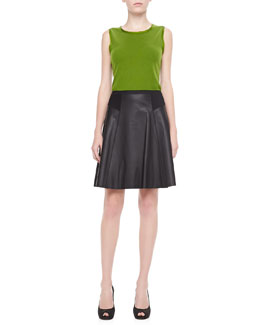 Elie Tahari Brenda Sleeveless Sweater & Natasha Flared Leather Skirt