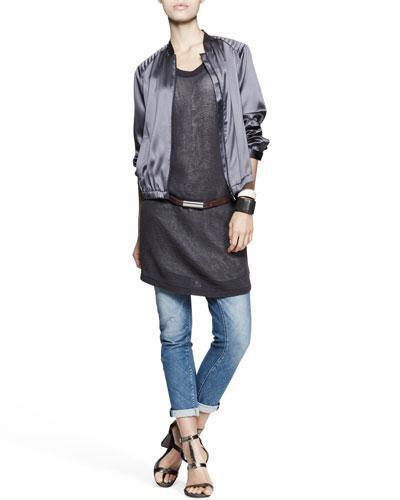 Brunello Cucinelli Satin Zip Jacket, Monili-Side Dress, Bias-Cut Jeans, Leather Belt & Cuffs