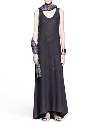 Paillette Knit Maxi Dress, Hibiscus-Print Scarf & Leather Cuffs