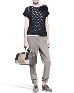 Brunello Cucinelli Woven Flower Pullover, Sleeveless Top, Monili-Stripe Sweatpants & Leather Cuffs