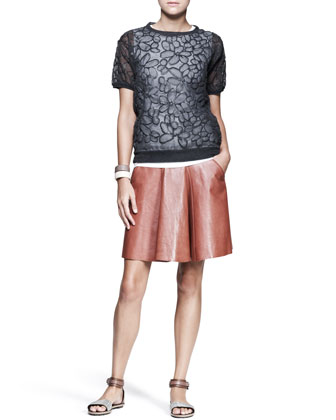 Flower-Embossed Chiffon Top, Leather Swing Skirt & Leather Cuffs