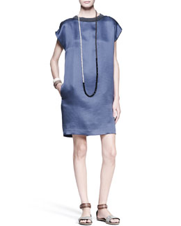 Brunello Cucinelli Satin Shift Dress, Multi-Stone Necklace & Leather Cuffs