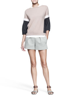 Brunello Cucinelli Colorblock Cashmere Pullover, Sleeveless Top & Pleated Striped Shorts