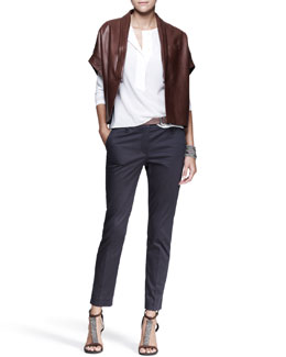 Brunello Cucinelli Kimono-Sleeve Jacket, Half-Placket Shirt, Slim Ankle Pants, Leather Belt & Cuff