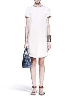 Brunello Cucinelli Monili-Collar Shift Dress, Knot Fedora & Leather Cuffs