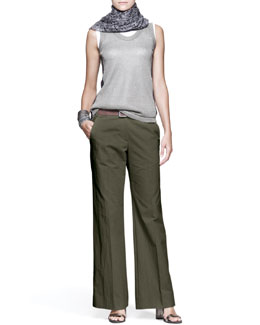 Brunello Cucinelli Paillette Top, Sleeveless Top, Wide-Leg Pants, Knot Fedora, Printed Scarf, Leather Belt & Cuffs