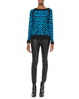 Milly Zebra-Stripe Knit Sweater & Monic Leather Skinny Pants