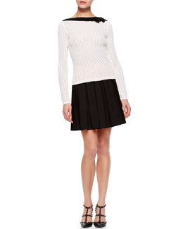 RED Valentino Knit Contrast Three Quarter -Sleeve Sweater & Poplin Pleated Skirt
